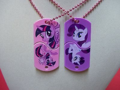 MLP Clickets Set Twilight Sparkle and Rarity Necklace Dog Tags Series 1