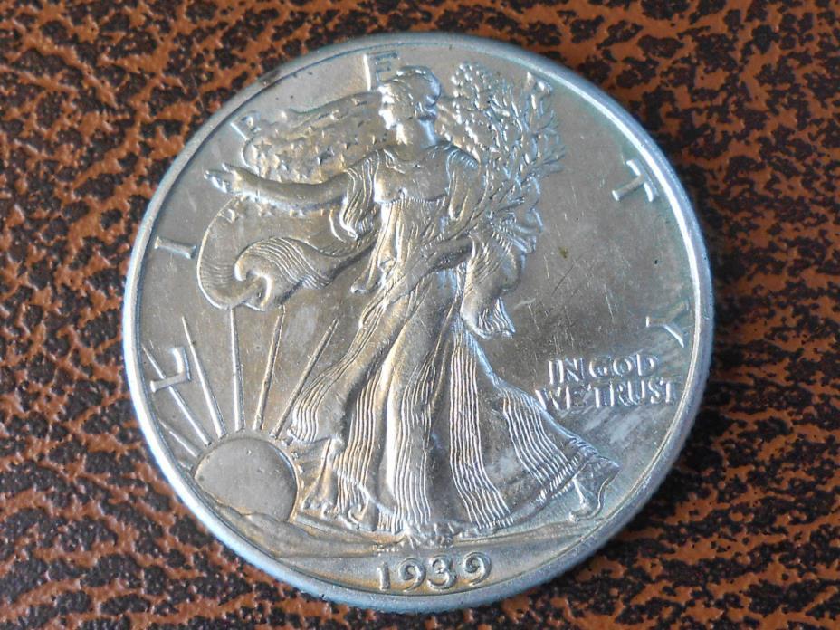 1939 P AU+ Walking Liberty Half Dollar Ref#62