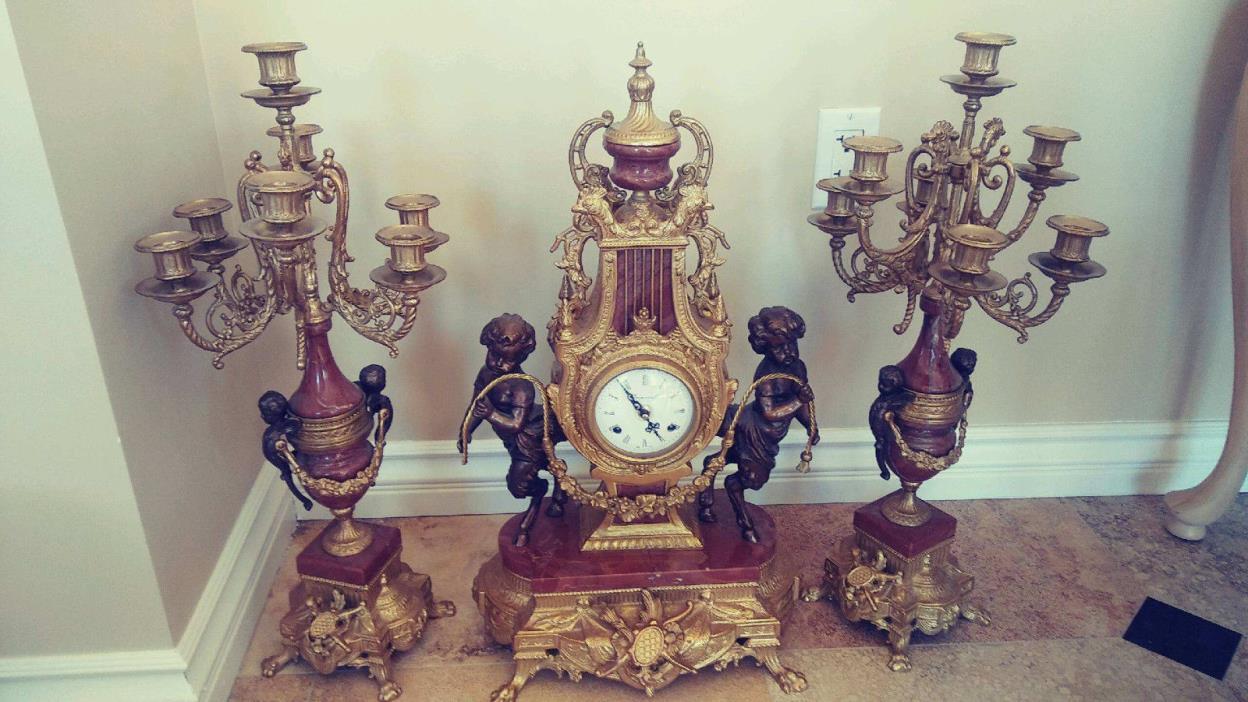 Imperial Brevettato Mantel Clock Candelabra Garniture