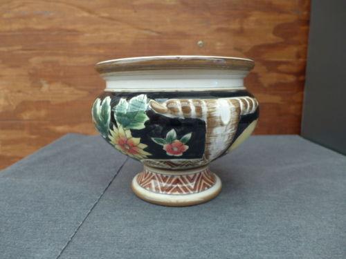 Ceramic Handpainted Yellow Lemons & Flowers Fruit Bowl Flower Vase