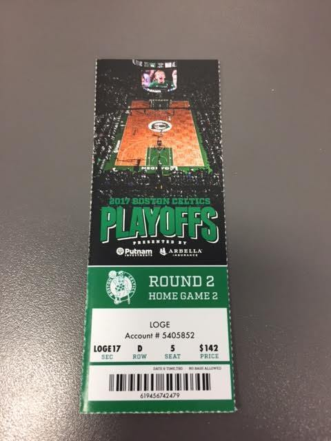 Boston Celtics Wizards Round 2 Game 2 Playoffs MINT Ticket 5/2/17 2017 NBA Stub