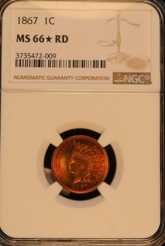 NGC 1867 Indian Head 1C MS 66 STAR RED Finest known