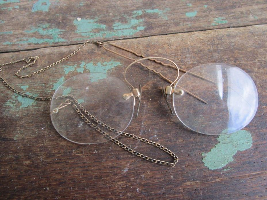 Antique Pince Nez Hairpin Spectacles Glasses