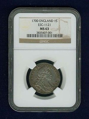 G.B./ENGLAND WILLIAM III 1700 1 SHILLING COIN, UNCIRCULATED, NGC CERTIFIED MS63