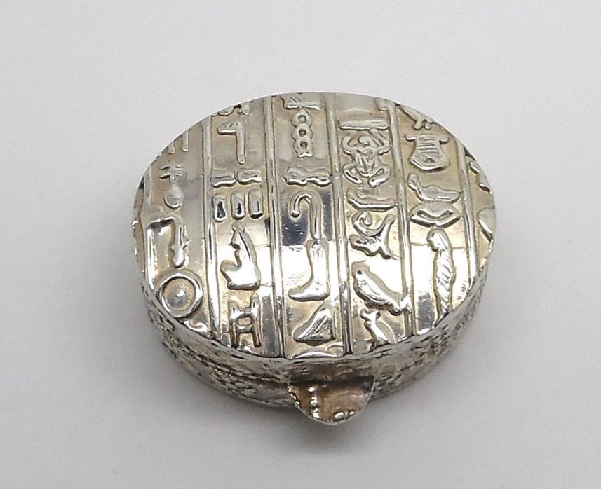 Egyptian Snuff / Pill Sterling Silver Raised Design Hinged Cover Retail $125