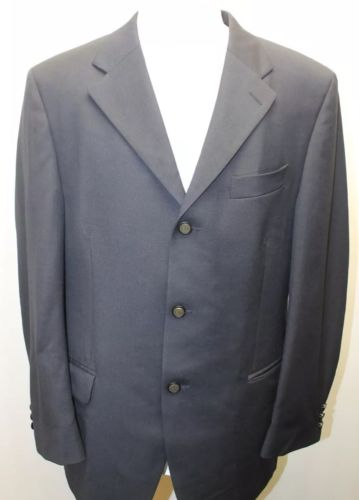 London Fog Men Black Blazer 3 Embossed Buttons  Lined100% Wool Canada Made 42R