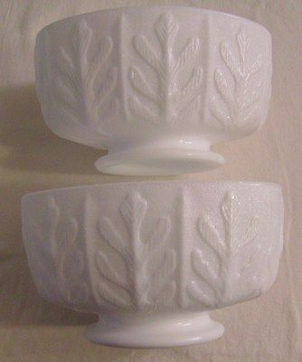 FTD Milk Glass Oval Planter - 1975 Oak Leaf Pattern - Pedestal  Vase Candy Dish