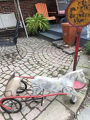VERY RARE VINTAGE HORSE WITH SULKY PEDAL CART RIDING TOY