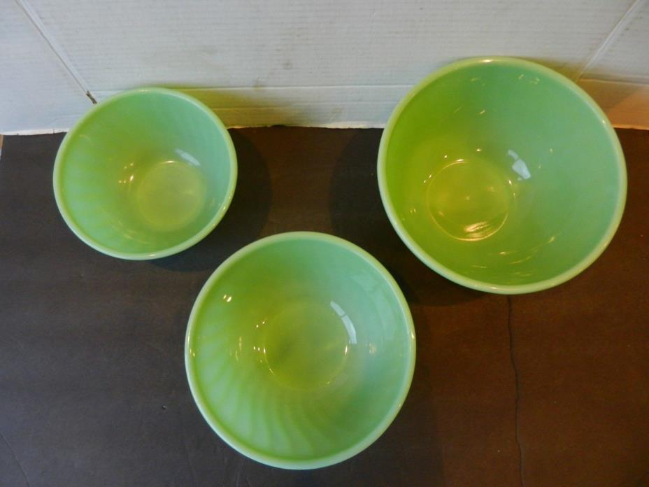 Vintage Fire King Jadeite Swirl Mixing Bowls set of 3