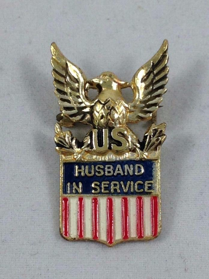VINTAGE WWII WW2 HOME FRONT STERLING SILVER US HUSBAND IN SERVICE PIN BY CORO