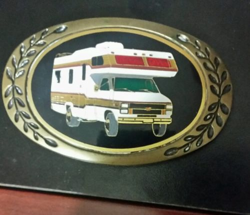 Home RV Recreational Vehicle Camper Camping Truck Vintage Belt Buckle brass