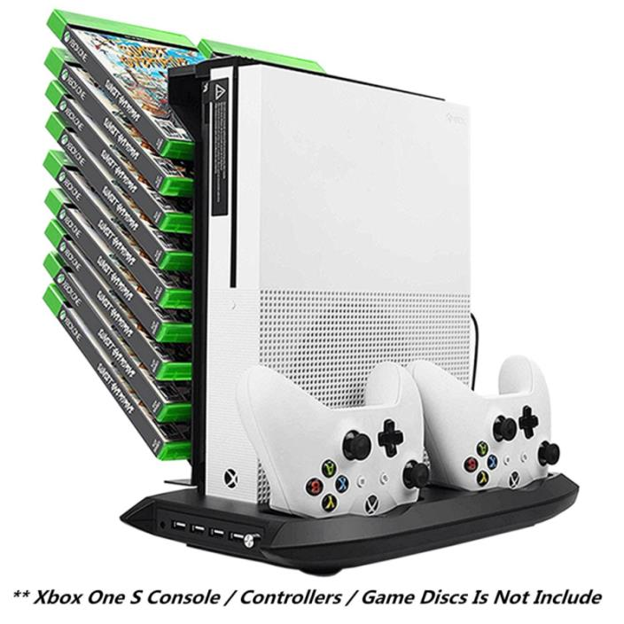 Xbox One S Vertical Stand Cooling Fan Controller Charging Station with Game Stor
