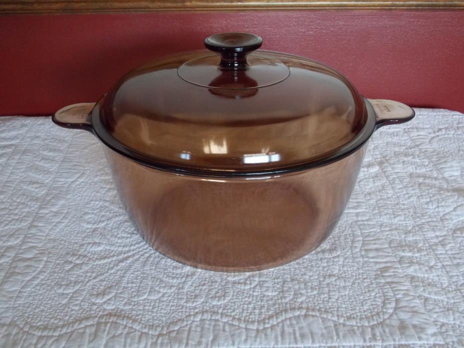 Corning Pyrex Vision Ware 4.5L 5 Quart Dutch Oven Stock Pot Amber