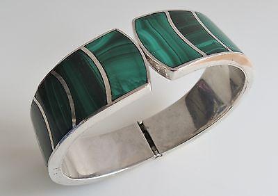 Superb sterling silver malachite modernist clamper bracelet Mexico