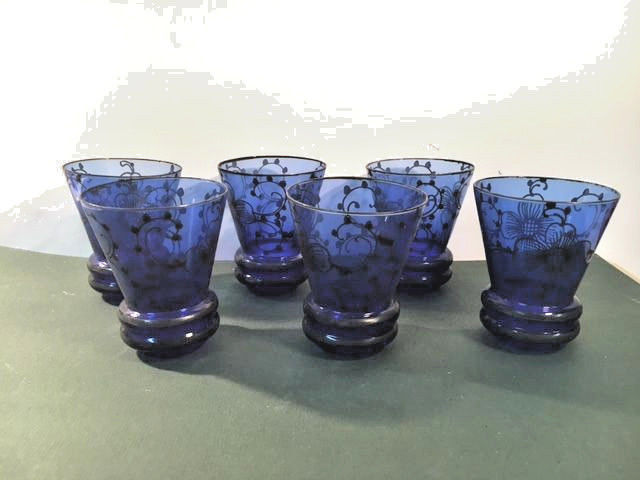 Vintage Italian Cobalt Blue with Silver Overlay Rocks Glasses = Six