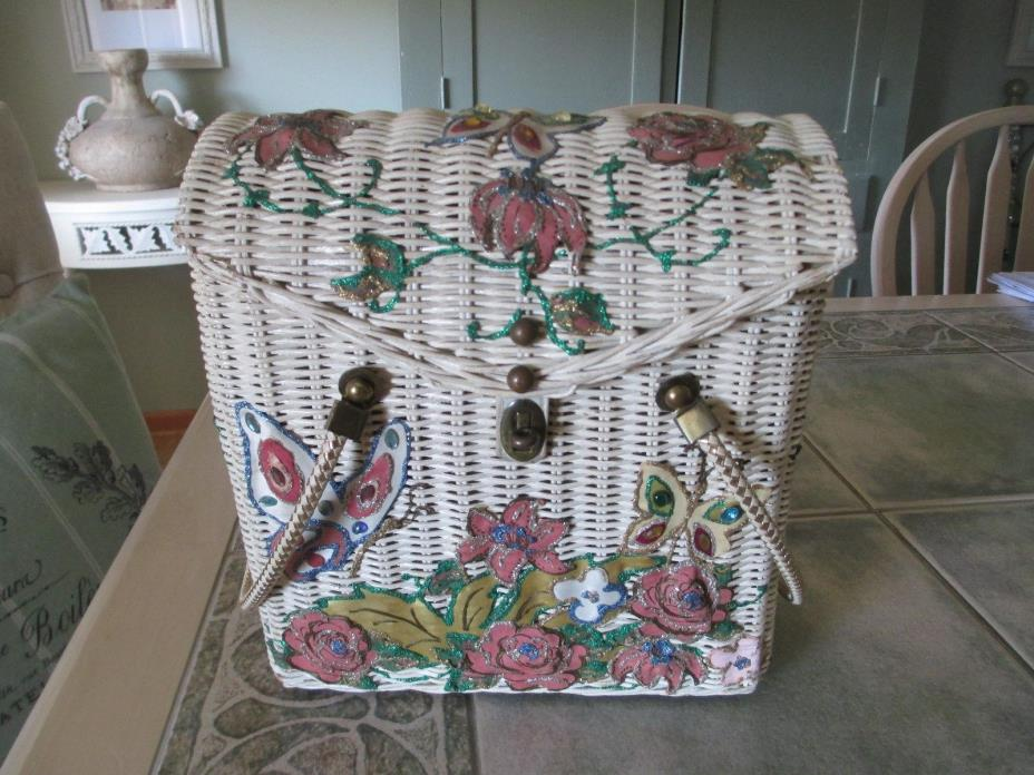 Rare Vintage BUTTERFLY Purse MIDAS OF MIAMI Wicker + Hand Painted Unique!