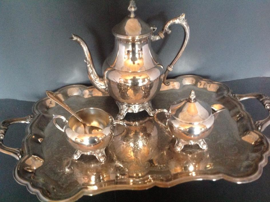 ROGERS SILVERPLATED ON BRASS COFFEE TEA SET FOOTED TRAY POT CREAMER SUGAR SPOON