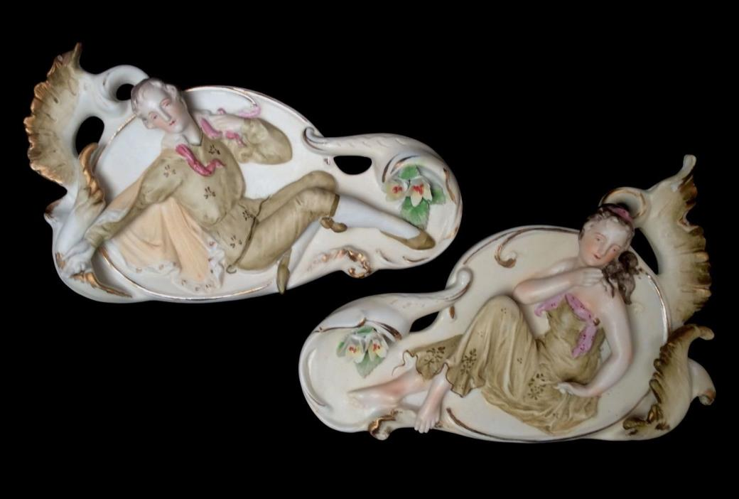 1800s French or German Bisque Wall Plaques 3D Pair - Couple