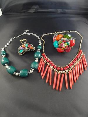 FUNKY CHUNKY RUNWAY STATEMENT BIB NECKLACE BRACELET HAIR CLIP GREEN RED PURPLE
