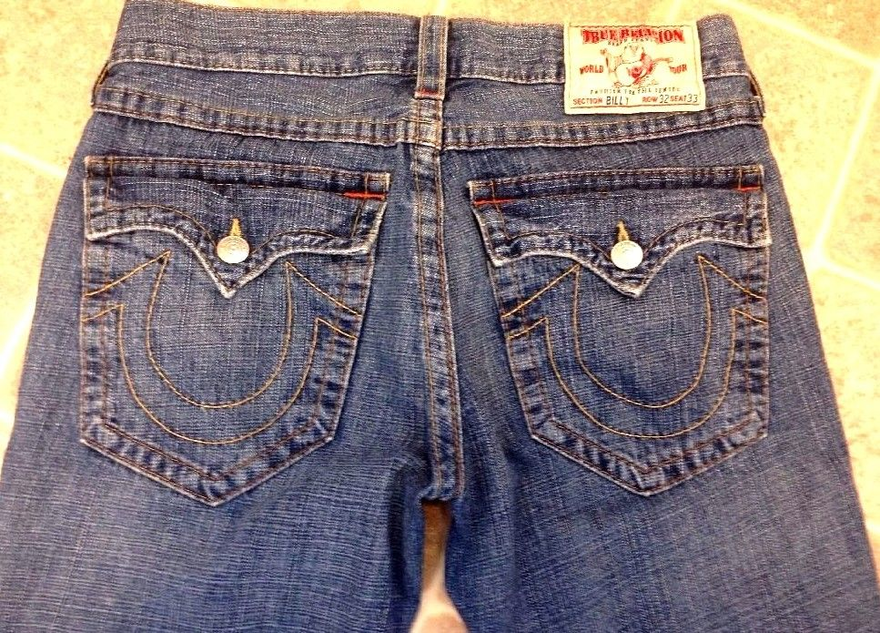 AWESOME AUTHENTIC TRUE RELIGION MENS BILLY Jeans Sz 32(34) /32 STYLE 18858OM