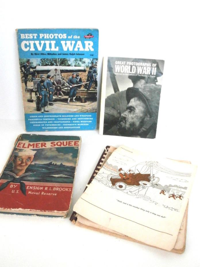 Lot of 4 Books: 2 Vintage WWII Cartoon-type Humor Books & 2 Photos of Wars Books