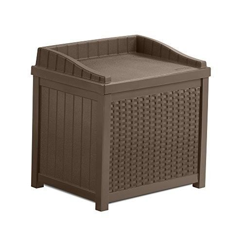 Outdoor Storage Box Patio Seat Home Decor Pool Garden Organizer Resin Wicker