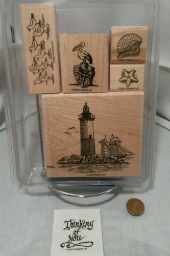 New Stampin' Up Calm Seas Rubber Stamp Mounted Retired Lighthouse 5 not 6