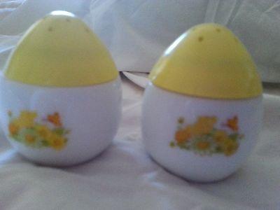 Vintage AVON Egg Shape Salt and Pepper Shakers Milk Glass Yellow Plastic Tops