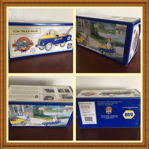 1999 NAPA 1940 Gendron Tow Truck Pedal Car Bank Mint NEW