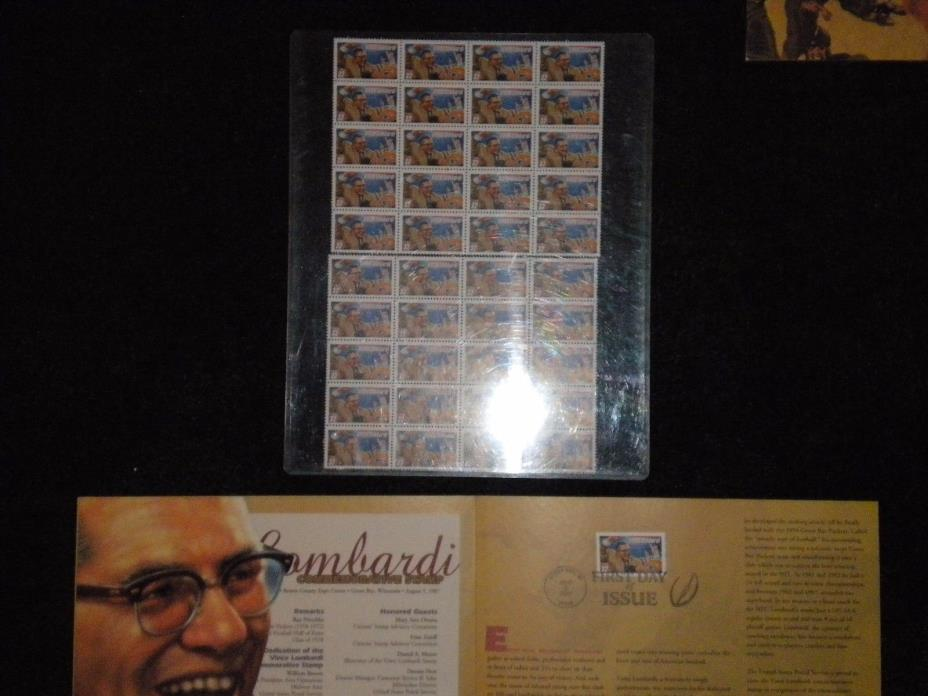 Green Bay Packers Football Coach Vince Lombardi Stamp Collection