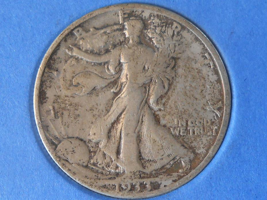1933S Fine Walking Liberty Half Dollar Ref#58