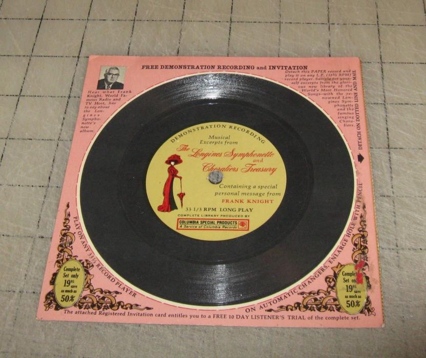Vintage COLUMBIA RECORDS Longines Symphonette Promotional 33 & 1/3 rpm Record