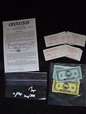 Original 1965 OPERATION Game Milton Bradley 4545 REPLACEMENT PARTS Instructions