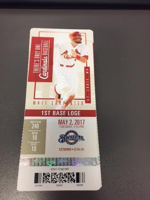 St. Louis Cardinals Milwaukee Brewers MINT Season Ticket 5/2/17 2017 MLB Stub
