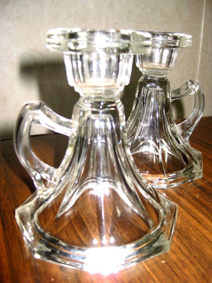 Lot of 2 - VINTAGE CLEAR PRESSED GLASS COLONIAL CANDLE HOLDERS WITH HANDLES
