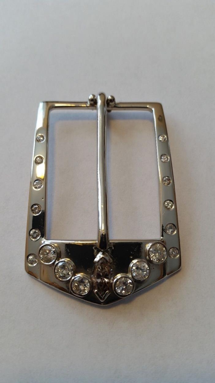 14k White Gold Cognac Diamond Buckle for Belt