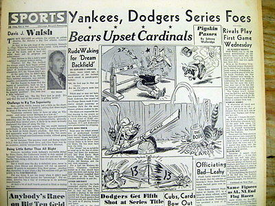 1949 newspaper NEW YORK YANKEES & BROOKLYN DODGERS  meet WORLD SERIES Baseball