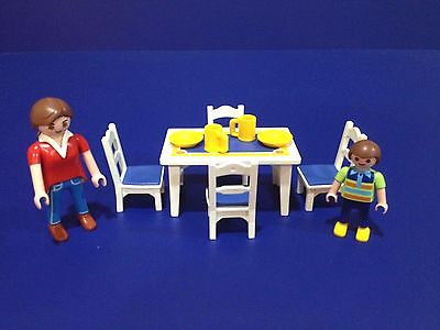 PLAYMOBIL KITCHEN TABLE, CHAIRS, MOM & BOY From Set 5317 Mansion Dollhouse 5300