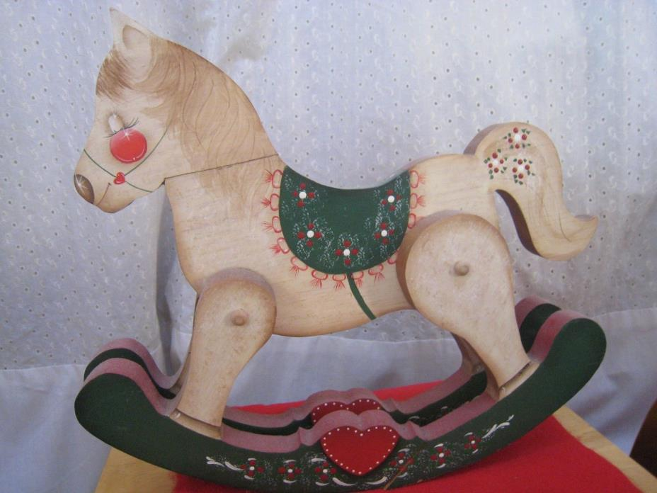 Vintage Wooden Painted Rocking Horse from Idyllwild Christmas decoration & Gift.