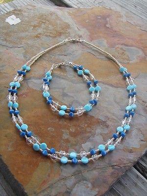 Double Strand Blue Turquoise & Clear Czech Glass Handmade Necklace Bracelet Set