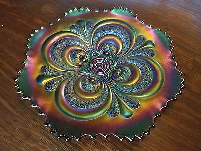 Vintage Imperial Carnival Glass Amethyst Scroll Embossed Plate 9 1/2