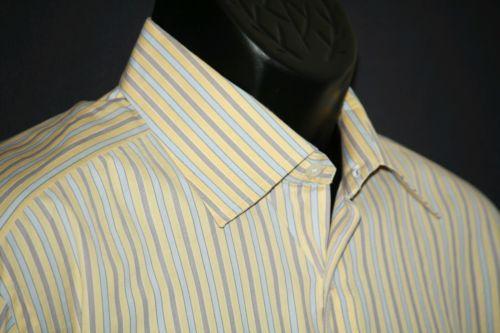 Men's shirt Ike Behar XL gold label 16.5 striped cotton long sleeve shirt