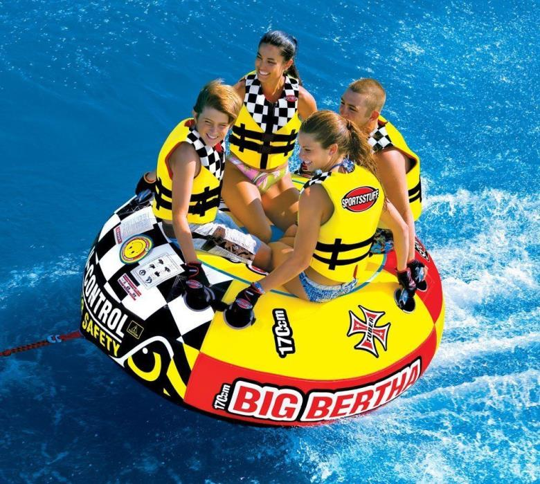 Inflatable Water Towable Ski Tube 4-Person Boat Sea Safe Nonslip Handles Durable