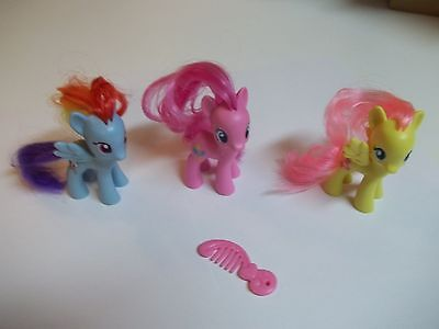 MLP Friendship is Magic 3 Ponies! Rainbow Dash Fluttershy Pinkie Pie with brush
