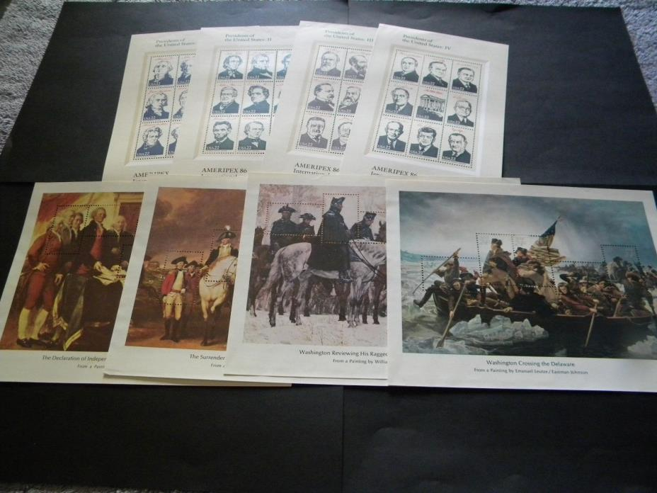 U.S. EIGHT MINT STAMP SHEETS BICENTENNIAL SOUV. SHEETS & AMERIPEX PRESIDENTS