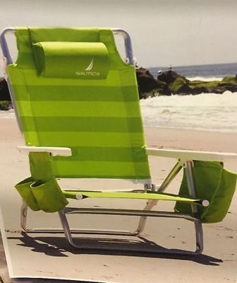 Nautica Beach Chair with Cooler & Cupholder Lime Green Color 5 Position Recline