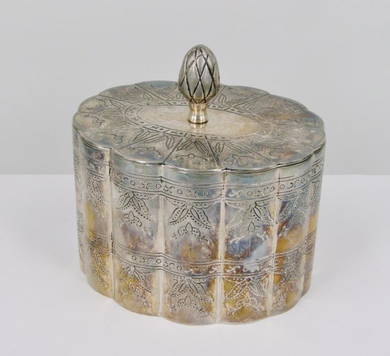 Vintage Ornate Hand Embossed Scalloped Trinket Box, Silverplate on Heavy Copper
