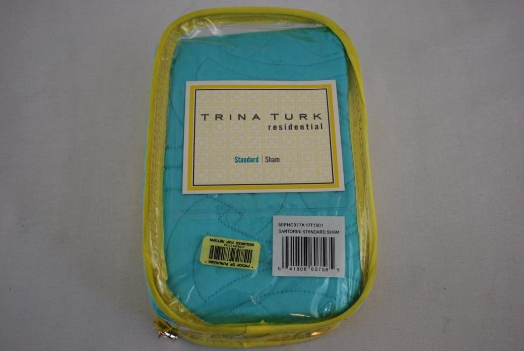 Trina Turk Residential Standard Pillow Sham Turquoise Santorini Quilted  NEW