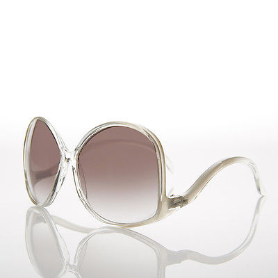 Clear Oversized Women's Low Temple 70s Vintage Sunglasses - Vazzy
