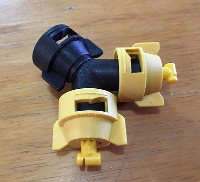 TeeJet QJ90-2-NYR Y Adapter + TT11002 Turbo Wide Angle Flat Spray Tips + Caps